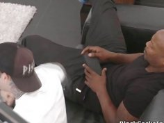 Blonde gags fucks big black cock