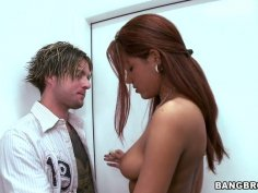 Spoiled red head Isis Taylor uses a new dildo for polishing her wet pussy