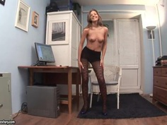 Office girl Inna horny solo action with sexy strip