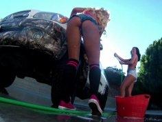 Sexy glamorous girls Carmen Caliente and Gianna Nicole acting up near the car