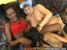 Interracial lesbians explore mature BBW