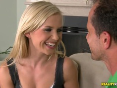 Teen blonde curve Bella Baby likes to swallow a gigantic cock