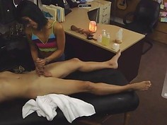 Asian chick gives massages with happy fucking