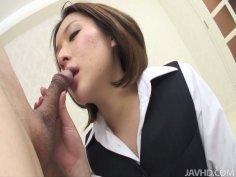 Kinky Japanese teacher Emi Orihara seduces geezer