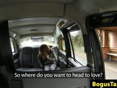 Busty redhead taxi cutie assfucked by driver