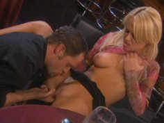 Busty blonde trollop Holly Wellin is fucking in a bar
