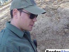 Border guard bangs hot redhead cutie outdoors