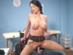 Big breasted Ania Kinski rides hard cock reverse cowgirl style