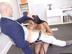 Sean Lawless fucks Brittney White doggy while sucking on her tits