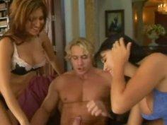 Mesmerizing Eva Angelina & Sativa Rose suck the dick of the body builder